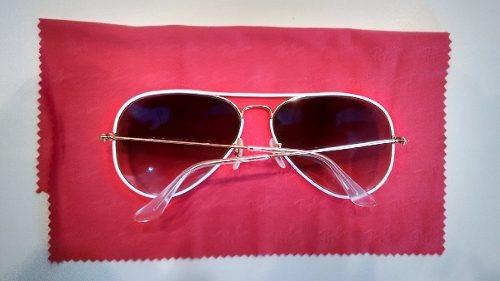 91ed7449d52df Óculos Ray Ban Top Aviador Luxottica Original Branco Com Dou - R ...