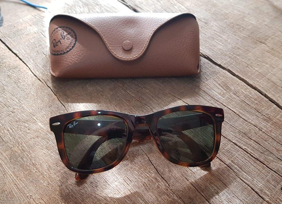 7ad9ff9e8 óculos ray ban wayfarer tartaruga g15 verde original rb2140. Carregando  zoom.