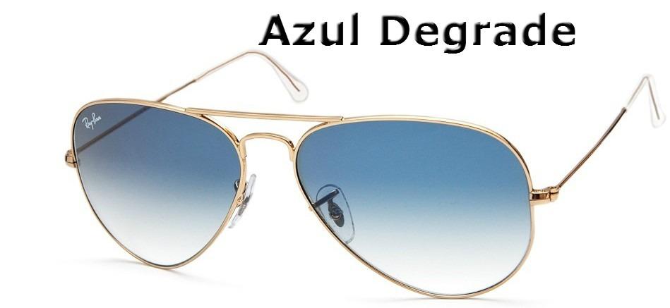 b6250298c7d46 Óculos Rayban Aviador Azul Degrade Ray Ban 100% Original - R  137,99 em  Mercado Livre