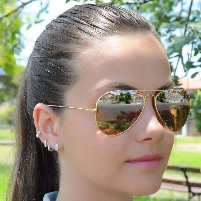 52baafa8c3389 Oculos Rayban Aviador Dourado Espelhado Masculino Feminino - R  69 ...
