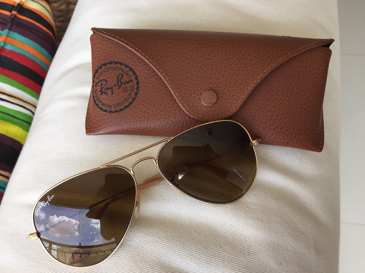 eca5072decb88 oculos rayban aviador dourado feminino original (usado). Carregando zoom.