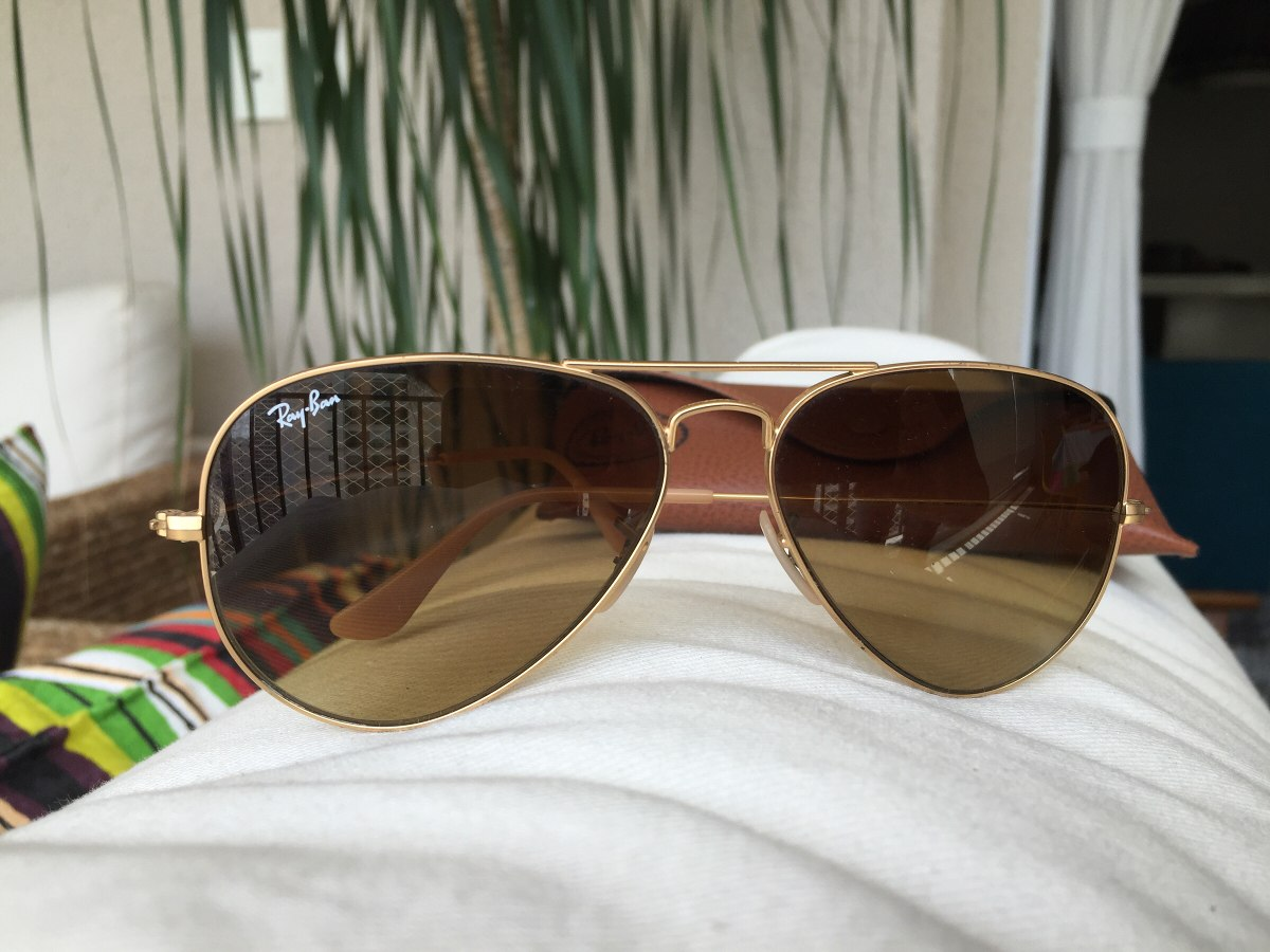 oculos rayban aviador dourado feminino original (usado). Carregando zoom. 2aed06fe3e