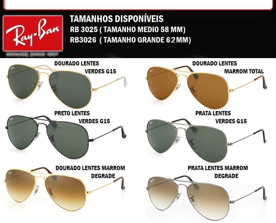 oculos rayban aviador original + certificado e frete gratis. Carregando  zoom. b7197577c5