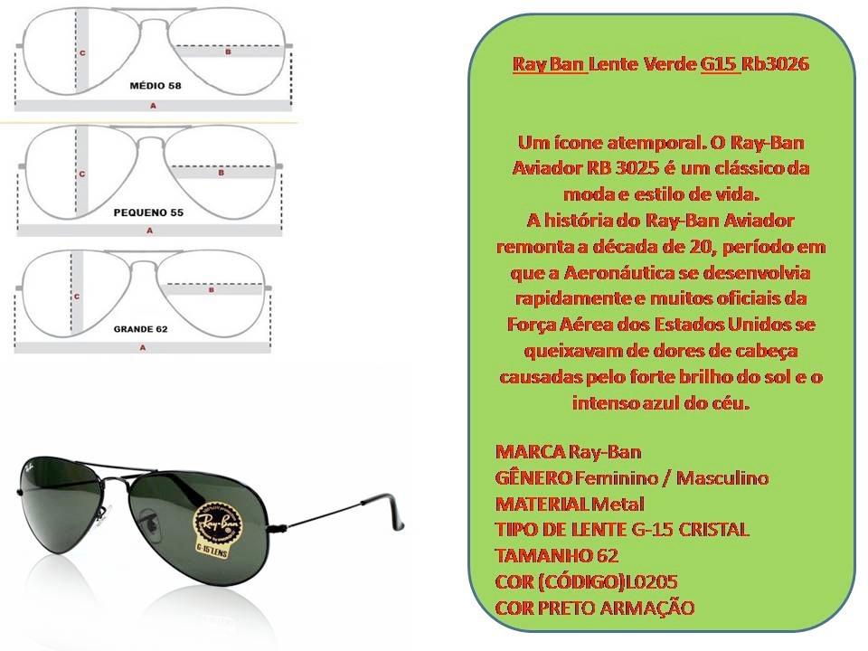 acebc76b7bb50 óculos rayban aviador rb3026 g15 tam.62 lente verde original. Carregando  zoom.