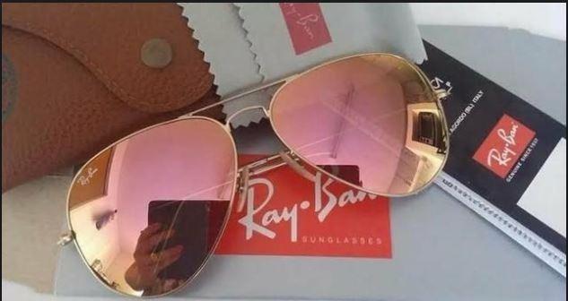 4d9be8486 Óculos Rayban Aviator Espelhado Rosa 3025 - R$ 320,00 em Mercado Livre