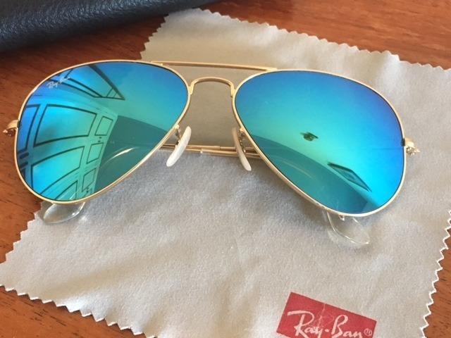 0a0f279d8 Óculos Rayban Feminino Aviador 3025 Masculino Azul Espelhado - R ...