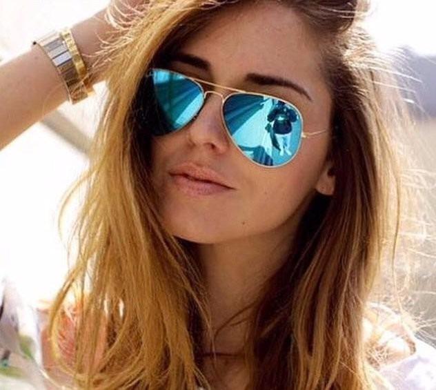 4f34872ac2f14 Óculos Rayban Feminino Aviador 3025 Masculino Azul Espelhado - R ...