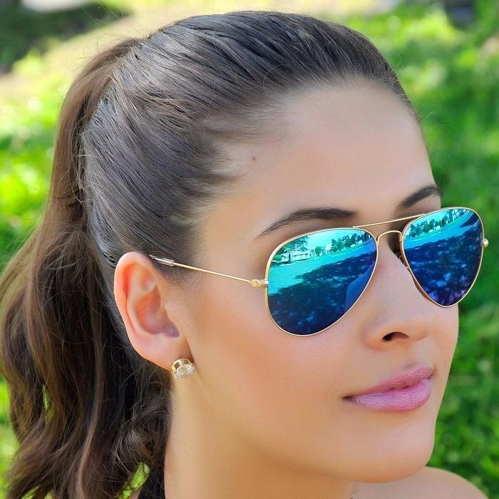 3413e94e76af3 óculos rayban feminino aviador 3025 masculino azul espelhado