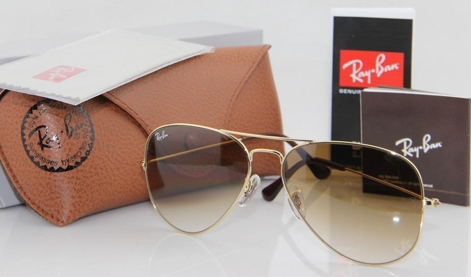 b7d86e14608d0 Óculos Rayban Feminino - Aviador Dourado  degradê Rb3025 - R  289
