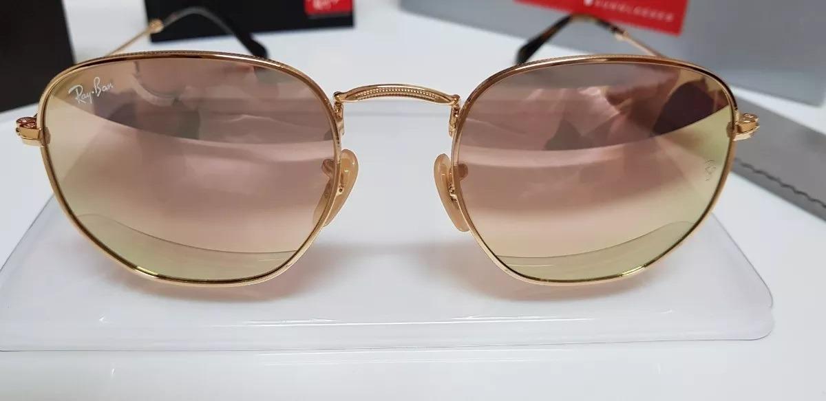 4f205d7d65ffc oculos rayban hexagonal rb3548 lente cristal rose espelhado. Carregando  zoom.