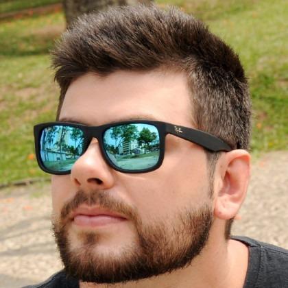 Óculos Rayban Justin Rb4165 Preto Azul Espelhado Original - R  249 ... 37c24c4b21