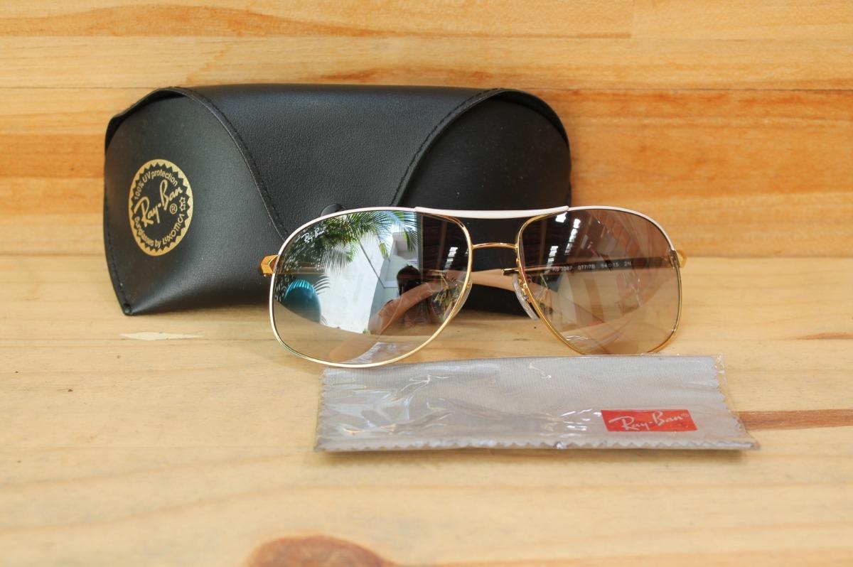 2d3d3f984d6 óculos rayban rb 3387 077 7b aviador dourado azul seminovo. Carregando zoom.