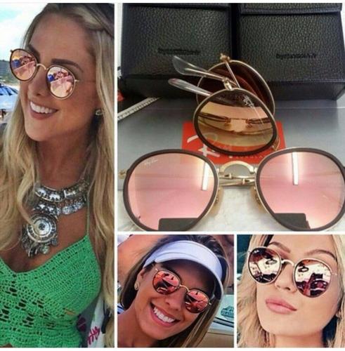 3da57d209a751 Oculos Rayban Round Dobravel Azul rosa Redondo   Espelhado - R  350 ...