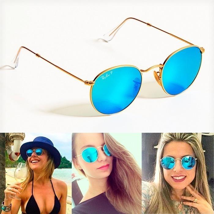 Óculos Rayban Round Rb3447 Azul Espelhado Feminino Masculino - R ... 7bec385efa