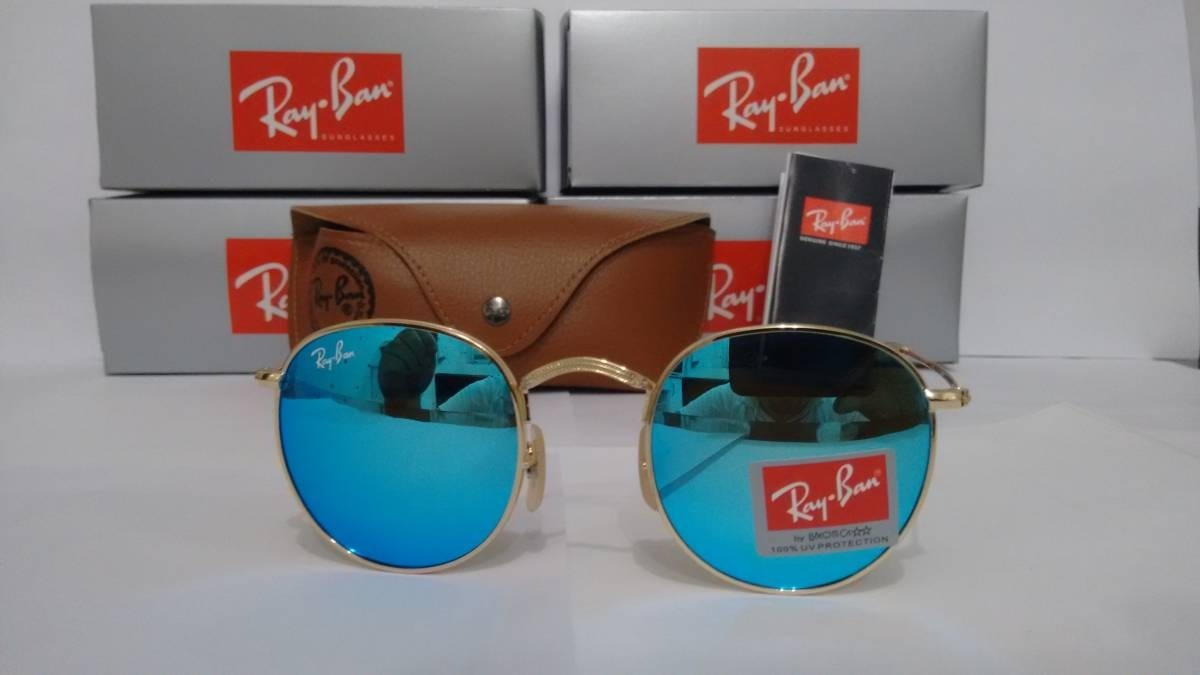 óculos rayban round rb3447 azul espelhado feminino masculino. Carregando  zoom. 4dbd089a87