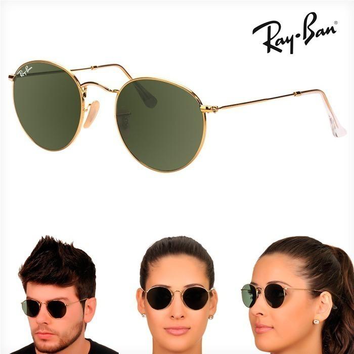 76f279a1c5e0d Óculos Rayban Round Rb3447 Dourado Verde Redondo Feminino - R  109 ...