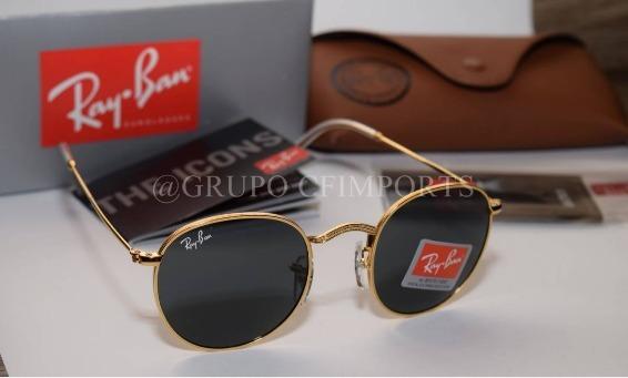 3ef2280751804 Óculos Rayban Round Rb3447 Redondo Preto Dourado Feminino - R  139 ...