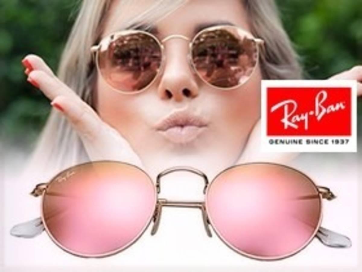 c431d4b1d3 Óculos Rayban Round Rb3447 Rosa Espelhado Redondo Feminino - R$ 300 ...