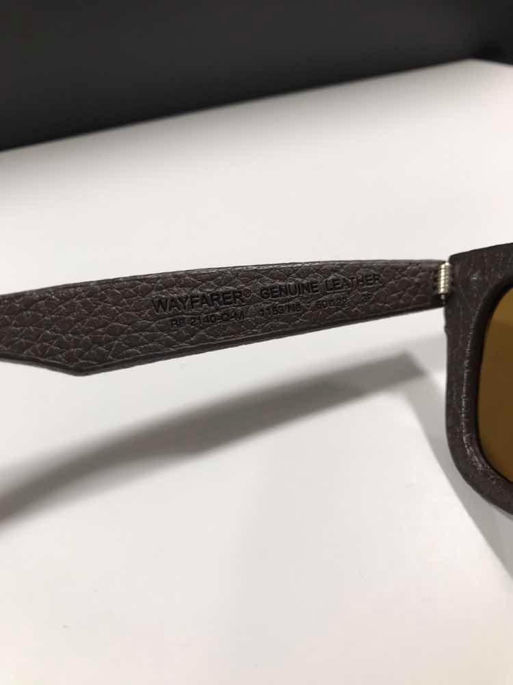 d8e79b2db óculos rayban wayfarer rb2140-q-m 1153/n6 polarizado couro. Carregando zoom.