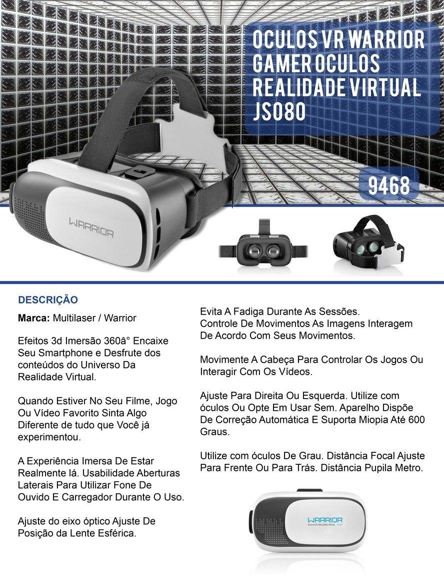 efaf229cc Oculos Realidade Virtual Vr Warrior Gamer Js080 - R$ 89,00 em ...