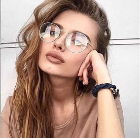 94c8cd68c5f Óculos Redondo Com Lente Transparente Modelo Unissex Tumblr