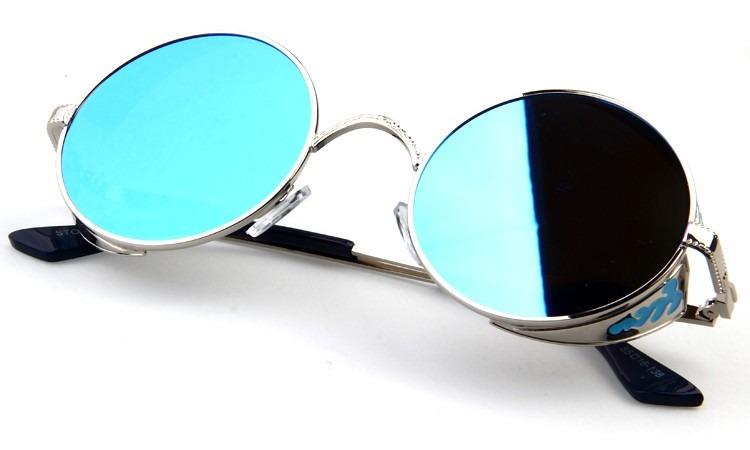 660f23dd541bd Óculos Redondo De Sol Lente Azul Uv400 Steampunk Retrô Prata - R ...