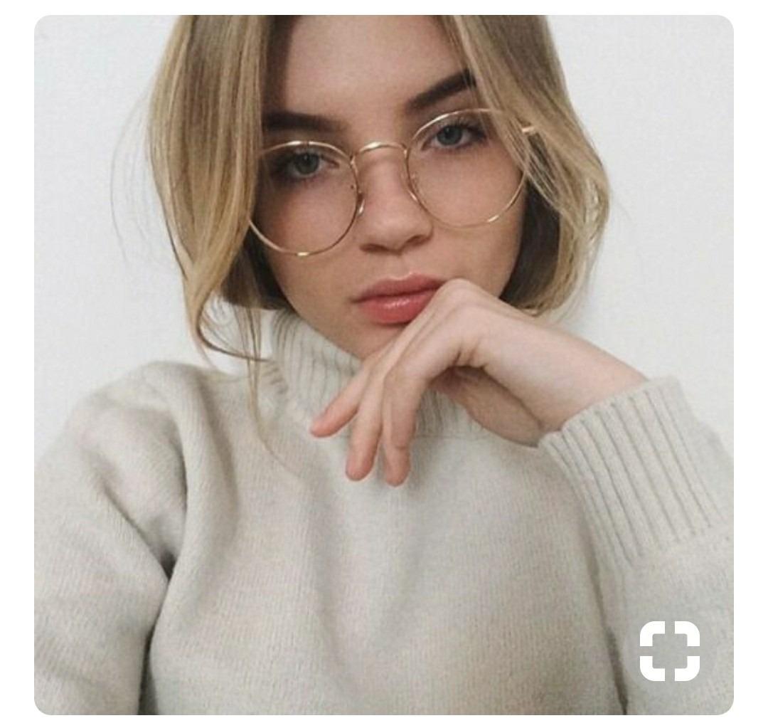 óculos redondo feminino dourado transparente sem grau nerd. Carregando zoom. c3a78b5c31