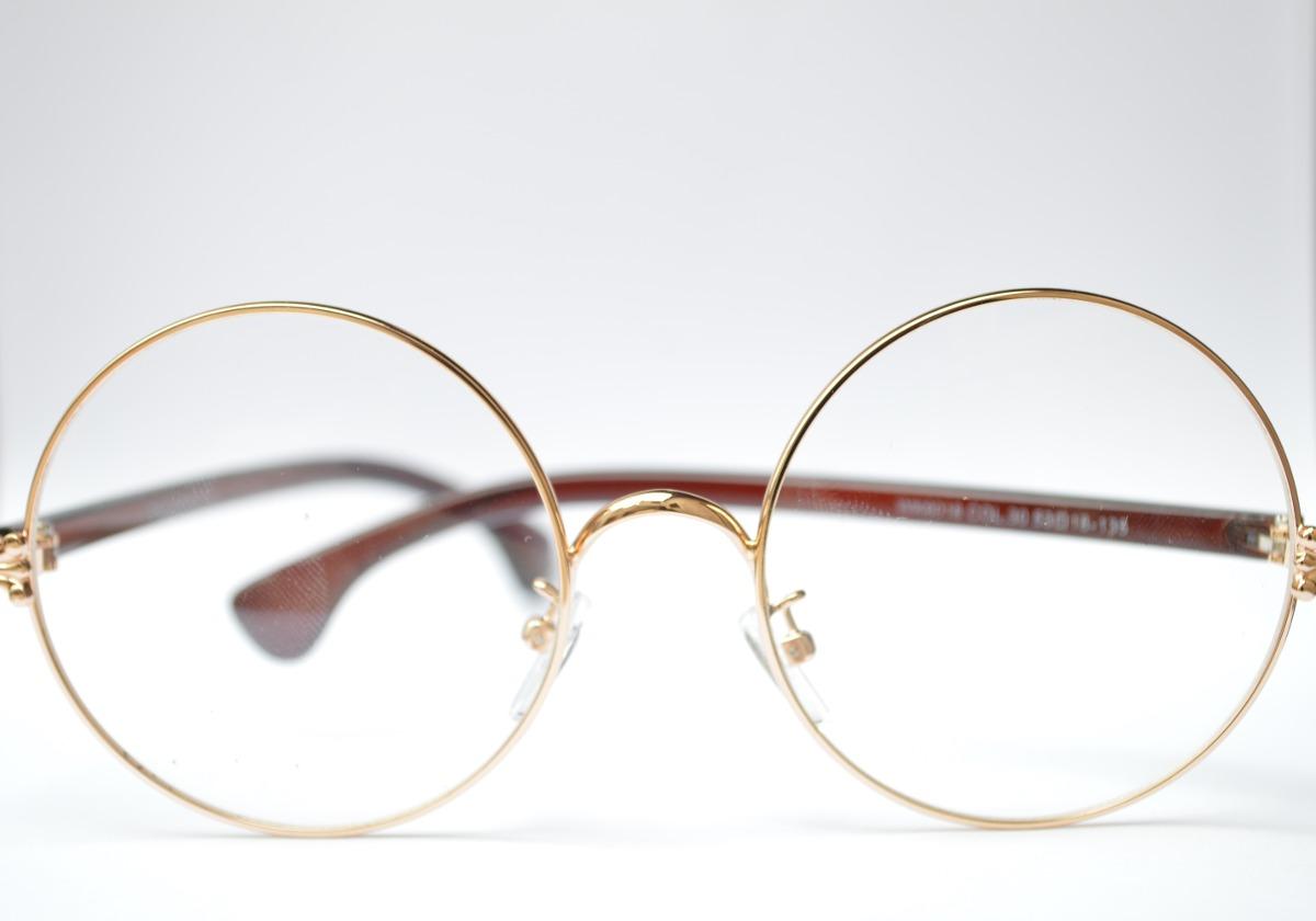 Oculos redondo feminino masculino dourado fantasia passeio carregando zoom  jpg 1200x840 Oculos redondo dourado feminino 515d86817d