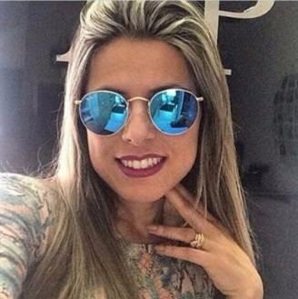 d7dc7d881f2be Oculos Redondo Lente Azul Espelhada Unissex R   B Retro - R  49,90 ...