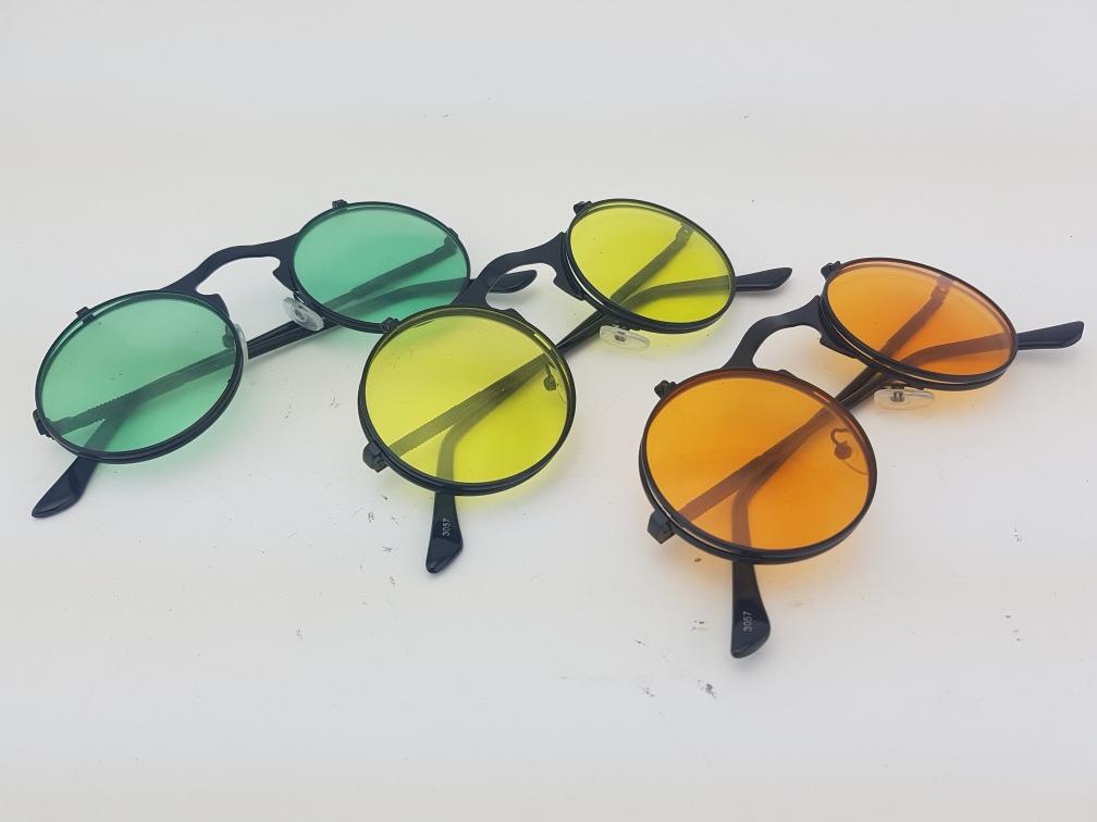 3f75b13e95caa óculos redondo preto uv400 lente dupla steampunk circular. Carregando zoom.