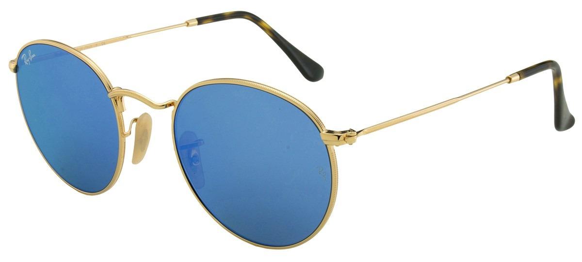 óculos redondo ray ban rb3447 50 round metal azul - original. Carregando  zoom. ee77bd79fb