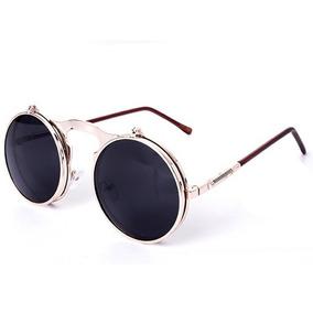 a9b3cd3d2 Óculos Redondo Retro Lente Dupla Uv400 Lupa Rose Com Preto