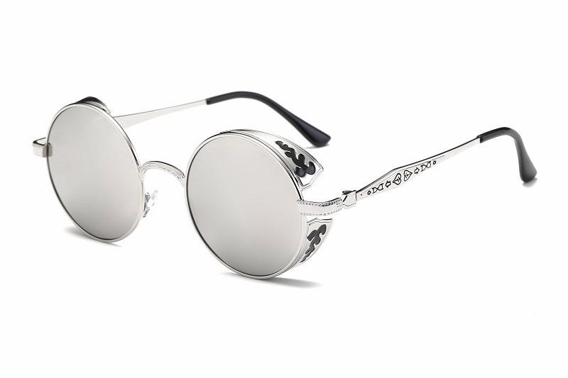 óculos redondo steampunk prata espelhada uv400 fashion rave. Carregando  zoom. bb05222c2b