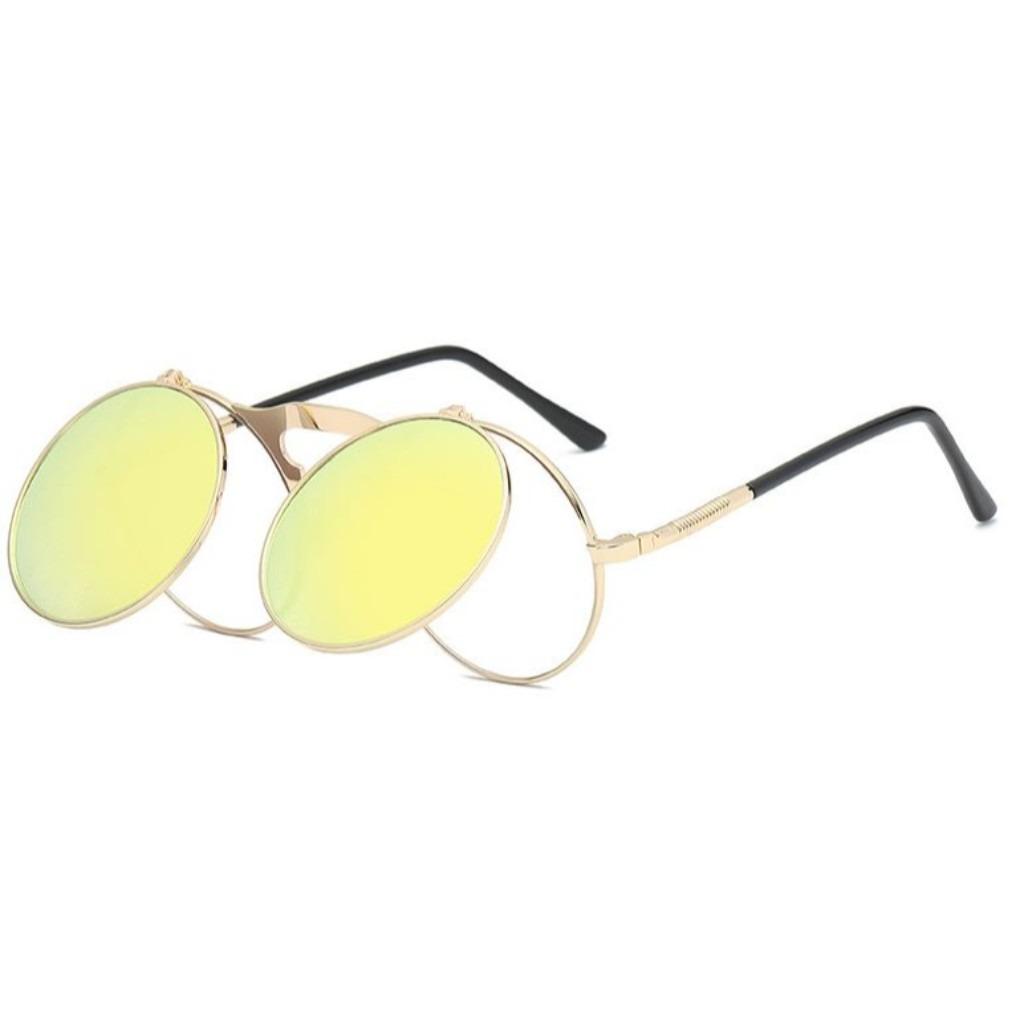 b5328928b óculos retro amarelo espelhado lentes levantam vintage uv400. Carregando  zoom.