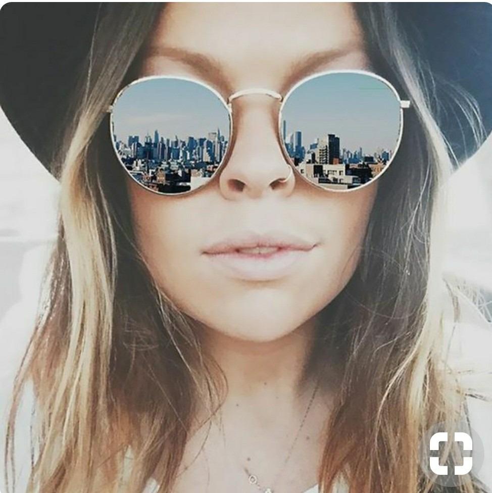 92d99bf7f óculos retro lindo redondo para mulher espelhado grande moda. Carregando  zoom.