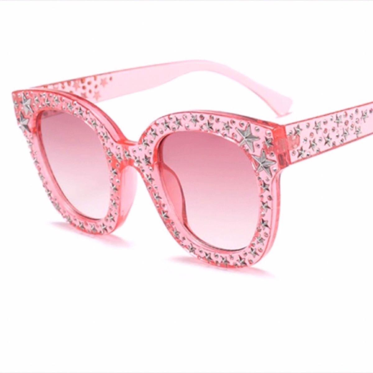 Óculos Rosa Estrelas Fashion - R  149,00 em Mercado Livre 66403ddf4a