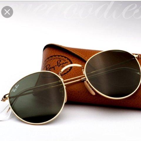 Óculos Round Rb3447 Dourado Verde Redondo Feminino - R  219,90 em ... d116004551