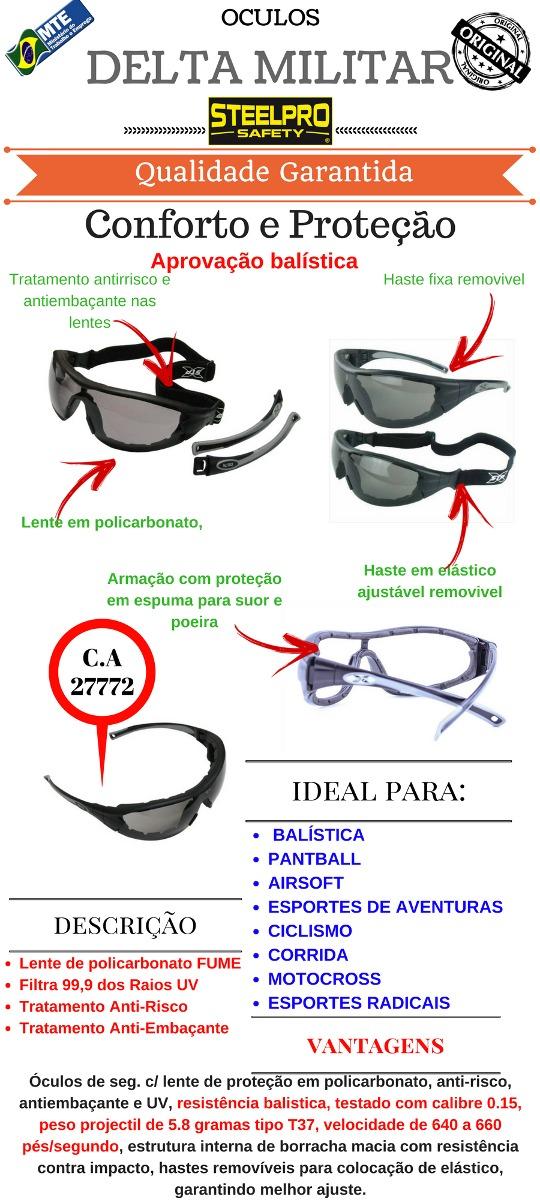 50e17c7719825 óculos segurança steelpro vicsa delta militar fume. Carregando zoom.