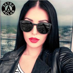 f1365bdea Óculos De Sol Feminino Preto Redondo Proteção Uv Clássico