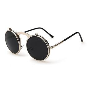 e2485dba5587e Óculos Sol Redondo Flip Punk Gotico Retro Uv400 Armação Grau