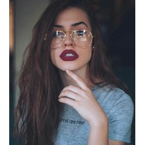 27fdab73ada5e Óculos Falso De Lente Transparente Sem Grau Tipo De Sol Moda