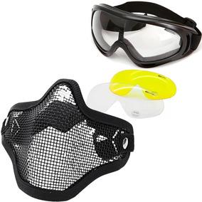 4fe2bb356034e Óculos Tático Luni + Máscara Com Tela Ntk Airsoft Paintball