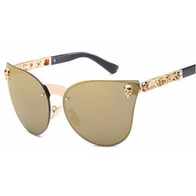861aa5b9d7571 Oculo De Sol Feminino Espelhado Iridia Prata Gatinho - Óculos no ...