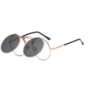 3a3dd16b31de9 Óculos Preto Redondo Quatro Lentes Vintage Retro Prot Uv400