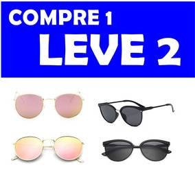 8864af8210bfe Óculos Sol Feminino Espelhado Gatinho Proteção Uv - 2 Oculos