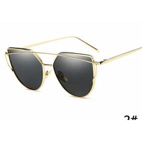 18b496b7e Oculos De Sol Cat Eyes Olho De Gato Preto E Dourado