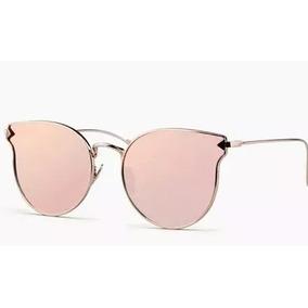 c20a1ac224277 Óculos Lente Espelhada Gatinho Mulher Gold Rose Rosa Barato
