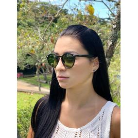 4cf5665b8d72a Oculos De Sol Feminino Preto Estilo Redondo Lente Verde Fumê