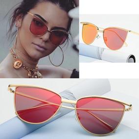 aec6d7850a18a Óculos De Sol Gatinho Vintage Dourado Retrô + Estojo Flanela