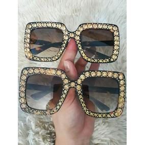 de1c647e5760c Óculo De Sol Gucci Strass Quadrado Grande Tartaruga Uv400